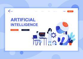 Modern platt webbdesign mall koncept för artificiell intelligens dekorerade människor karaktär för webbplats och mobil webbutveckling. Platt målsida mall. Vektor illustration.