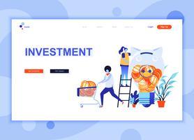 Modern platt webbdesign mall koncept för Business Investment dekorerade människor karaktär för webbplats och mobil webbutveckling. Platt målsida mall. Vektor illustration.