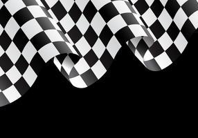 Kariertes Flaggenfliegen auf schwarzer Designrennensiegerhintergrund-Vektorillustration.