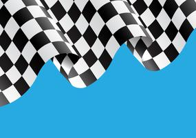 Kariertes Flaggenfliegen auf blauer Designrennensiegerhintergrund-Vektorillustration.
