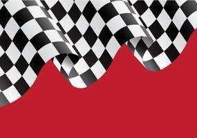 Kariertes Flaggenfliegen auf roter Designrennensiegerhintergrund-Vektorillustration.