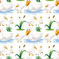 Nahtloser Hintergrund mit Ente im Teich vektor