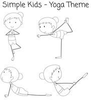 Set av enkel flicka som gör yoga