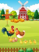 Många kycklingar på gården vektor