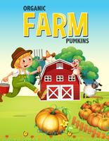Bauernhofplakatdesign mit Landwirt und Tieren
