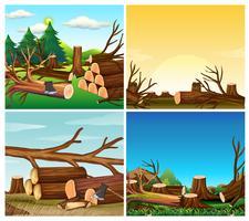 Fyra scener av avskogning vektor