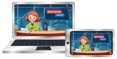 Live-Nachrichten auf Geräten vektor