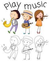 Doodle grafisk av musiker vektor