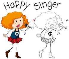 En sångerska på vit bakgrund vektor