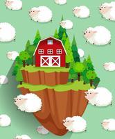 Bauernhaus und Schafe fliegen in den Himmel