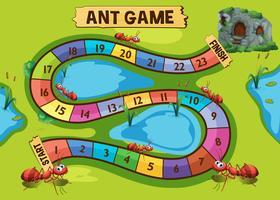 Spielschablone mit Ameisenkolonie im Hintergrund