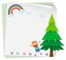 Pappersdesign med pojke och träd vektor