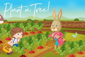 Pojke och kanin i grönsaksgården och fras plantera ett träd