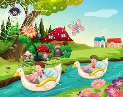 Kinder reiten Boote auf dem Fluss