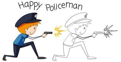 Doodle grafisk polis man vektor