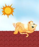 Faule Katze auf dem Dach vektor
