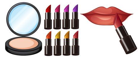 Unterschiedliche Lippenstiftfarbe bilden vektor