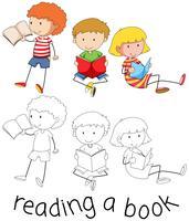 Doodle barn som läser en bok vektor
