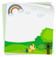 Pappersdesign med pojke i parken