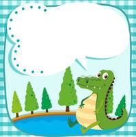 Gränsdesign med krokodil och damm vektor