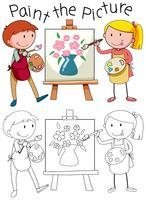 Doodle grafisk av konst vektor