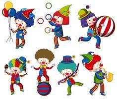 En uppsättning cirkus clown vektor