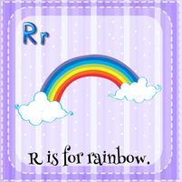 Flashcard-bokstaven R är för regnbåge