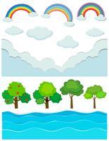 Naturszene mit Regenbogen und Fluss vektor