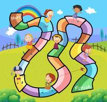 Spielschablone mit den Kindern, die im Park spielen vektor