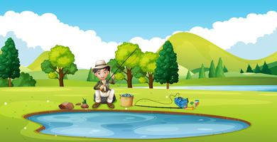 Szene mit Mann am Teich angeln vektor