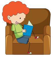 Doodle pojke läsning bok vektor
