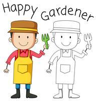 Doodle ung man trädgårdsarbete vektor