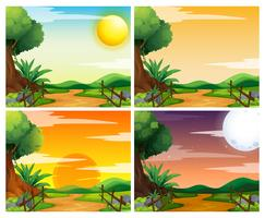 Fyra scener av solnedgång på landsbygden