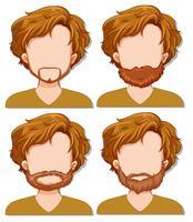 Manncharakter mit unterschiedlichem Bart vektor