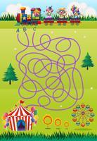 Spielvorlage mit Clowns und Zirkus vektor