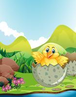 Litet kycklingkläckande ägg vektor
