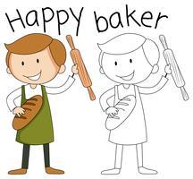Gekritzel-glücklicher Bäckercharakter vektor