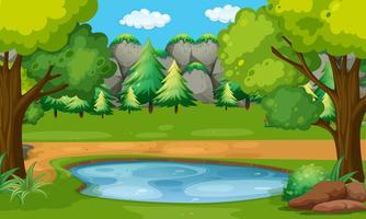 Szene mit Teich im Wald vektor