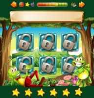 Spielvorlage mit Fröschen im Dschungel vektor