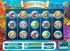 Slot-Spielvorlage mit Fischcharakteren vektor