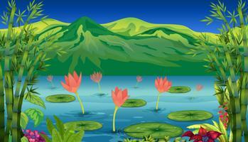 Die Seerosen und Blumen am See vektor