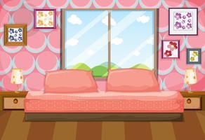 Sovrum med rosa möbler