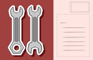 Postkartenauslegung mit zwei Schlüsseln