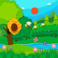 Biene fliegt um den Bienenstock vektor
