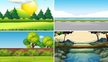 Fyra olika scener på dagtid