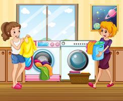 Ung kvinna tvättar kläder