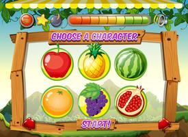 Spielschablone mit Hintergrund der frischen Früchte