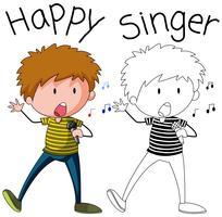 Doodle-Sänger-Jungen-Charakter vektor