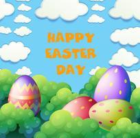 Glückliches Ostern-Plakat mit Eiern im Garten vektor