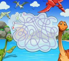 Spelmall med dinosaurier i sjön
